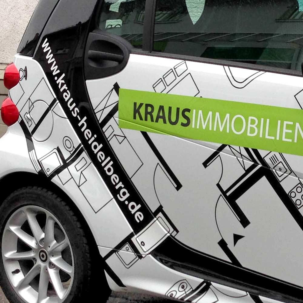 KFZ Beschriftung Heidelberg Kraus Immobilien