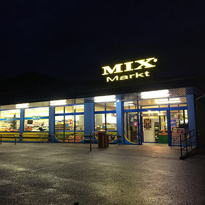 LED-Leuchtreklame Mix Markt Mannheim