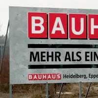 Bedruckte Werbetafel für Bauhaus